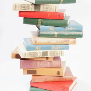 Book heap isolated on white