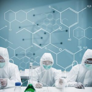Three chemists working in protective suit with futuristic interface showing formula